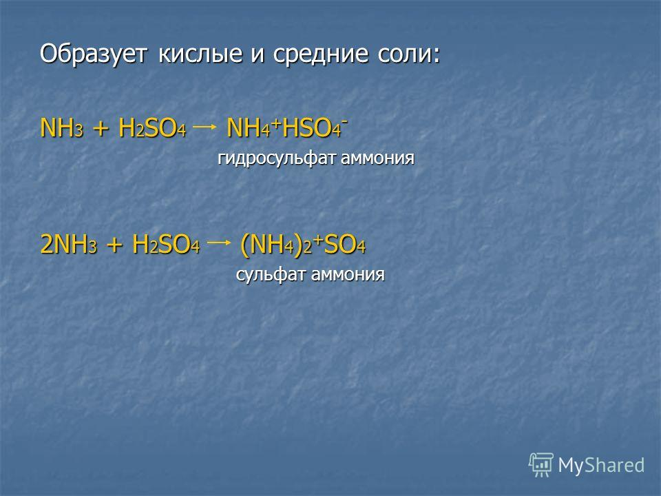 Образует кислые и среднии соли: NH 3 + H 2 SO 4 NH 4 + HSO 4 - гидросульфат аммония гидросульфат аммония 2NH 3 + H 2 SO 4 (NH 4 ) 2 + SO 4 сульфат аммония сульфат аммония