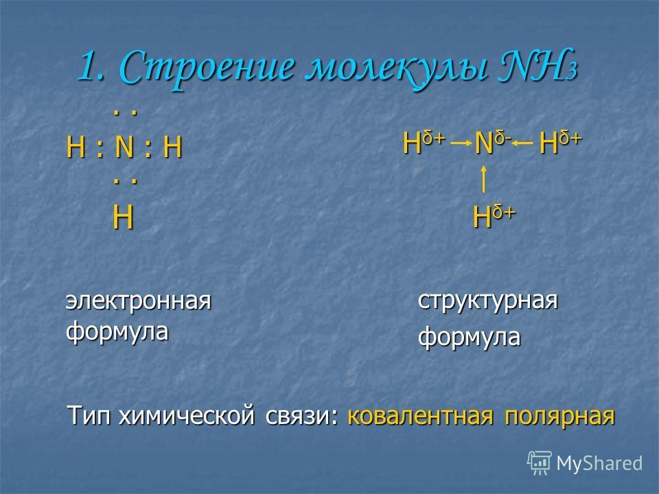1. Строении молекулы NH 3 H δ+ N δ- H δ+ H δ+ H δ+ структурная структурная формула формула.... H : N : H.... H электронная формула Тип химической связи: ковалентная полярная