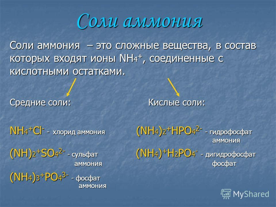 Соли аммония Соли аммония – это сложные вещества, в состав которых входят ионы NH 4 +, соединенные с кислотными остатками. Среднии соли: Кислые соли: NH 4 + Cl - - хлорид аммония (NH 4 ) 2 + HPO 4 2- - гидрофосфат аммония аммония (NH) 2 + SO 4 2- - с