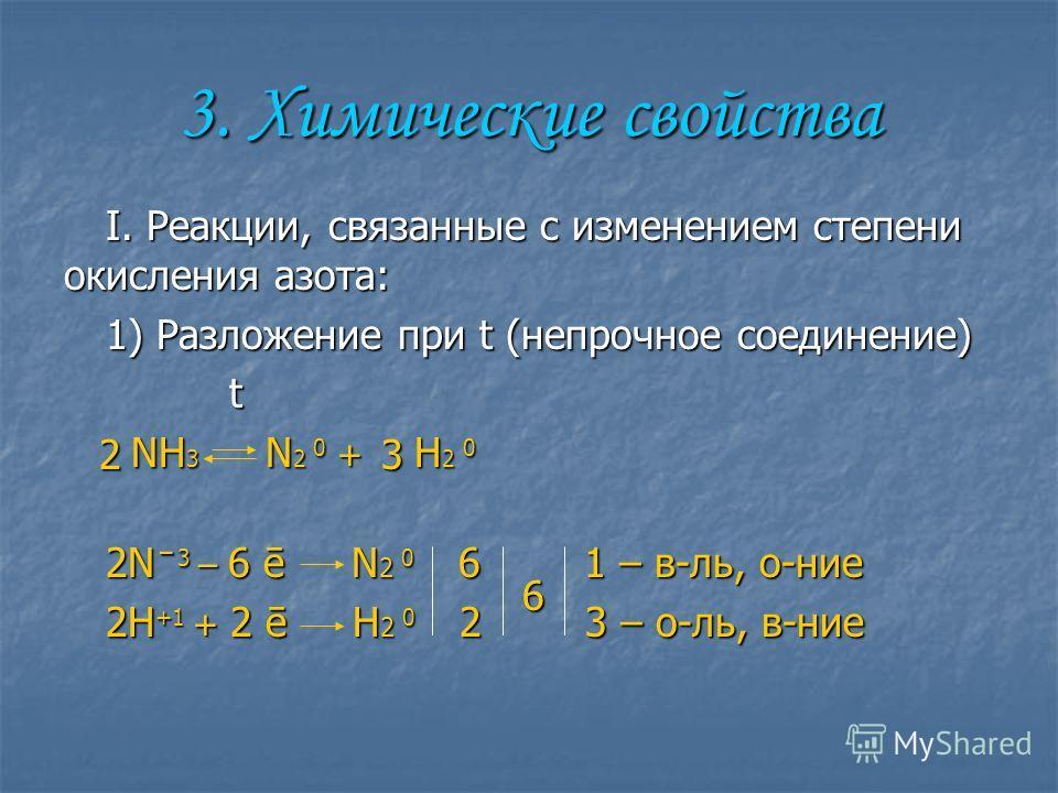 3. Химические свойства I. Реакции, связанные с изменениим степени окисления азота: 1) Разложении при t (непрочное соединении) t t NH 3 N 2 0 + H 2 0 NH 3 N 2 0 + H 2 0 2N ̄ 3 – 6 ē N 2 0 6 1 – в-ль, о-нии 2H +1 + 2 ē H 2 0 2 3 – о-ль, в-нии 623