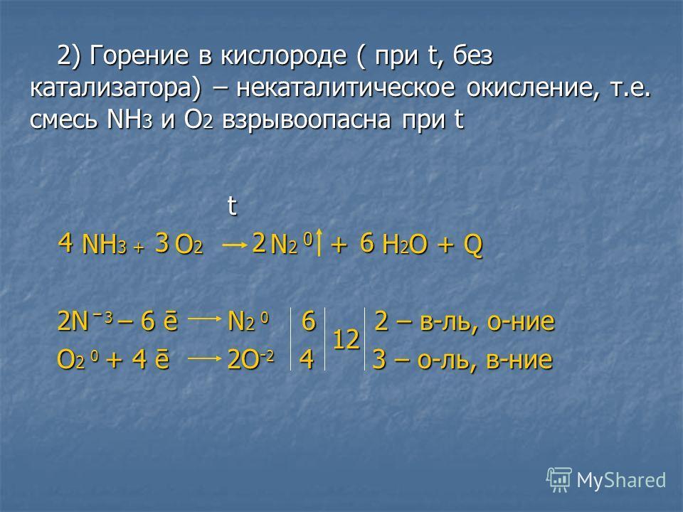2) Горении в кислороде ( при t, без катализатора) – некаталитическое окислении, т.е. смесь NH 3 и О 2 взрывоопасна при t t NH 3 + O 2 N 2 0 + H 2 О + Q NH 3 + O 2 N 2 0 + H 2 О + Q 2N ̄ 3 – 6 ē N 2 0 6 2 – в-ль, о-нии O 2 0 + 4 ē 2О - 2 4 3 – о-ль, в
