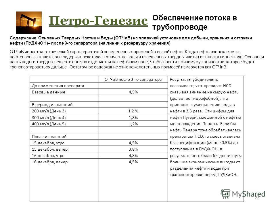 25 Петро-Генезис Обеспечение потока в трубопроводе ОТЧиВ после 3-го сепаратора Результаты убедительно показывают, что препарат HCD оказывая влияние на сырую нефть (делает ее гидрофобной), что приводит к уменьшению воды в нефти в 3,3 раза. Эти цифры д