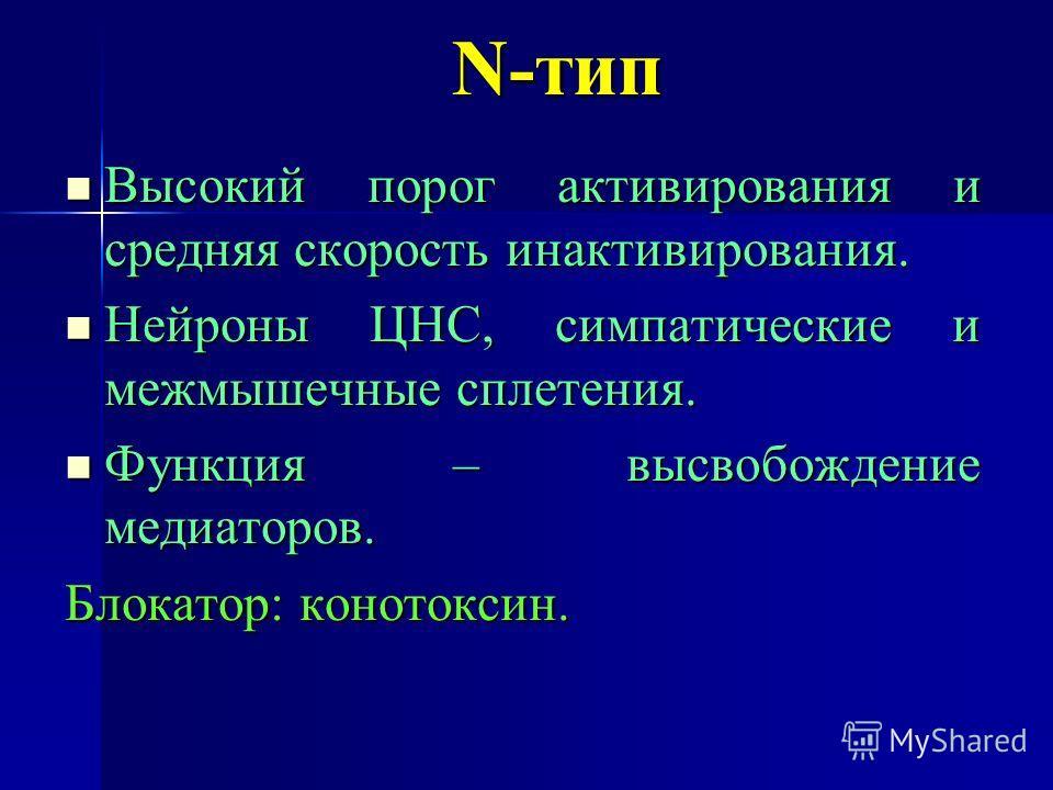 N-тип Высокий порог активирования и средняя скорость инактивирования. Высокий порог активирования и средняя скорость инактивирования. Нейроны ЦНС, симпатические и межмышечные сплетения. Нейроны ЦНС, симпатические и межмышечные сплетения. Функция – вы