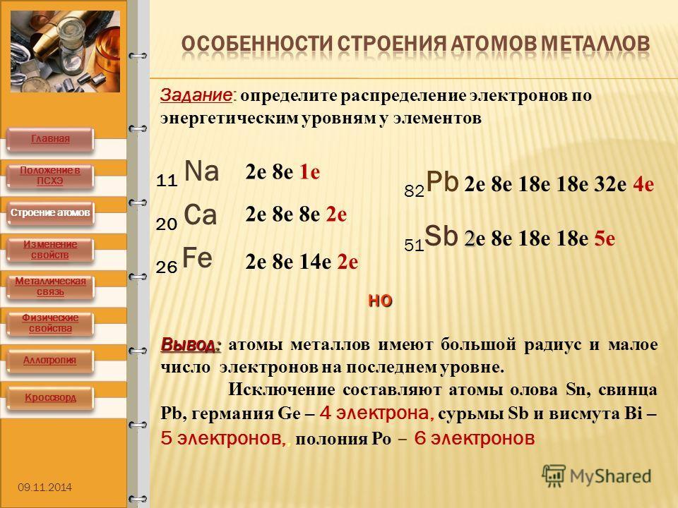 11 Na 20 Са 26 Fe 2 е 8 е 1 е 2 е 8 е 8 е 2 е 2 е 8 е 14 е 2 е Задание: определите распределение электронов по энергетическим уровням у элементов 82 Pb 2 е 8 е 18 е 18 е 32 е 4 е 51 Sb 2 22 2 е 8 е 18 е 18 е 5 е Вывод : Вывод : атомы металлов имеют б