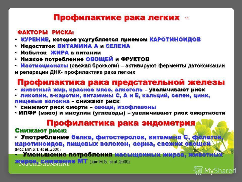 Профилактике рака легких Профилактике рака легких 11 ФАКТОРЫ РИСКА: ФАКТОРЫ РИСКА: КУРЕНИЕ, которое усугубляется приемом КАРОТИНОИДОВ КУРЕНИЕ, которое усугубляется приемом КАРОТИНОИДОВ Недостаток ВИТАМИНА А и СЕЛЕНА Недостаток ВИТАМИНА А и СЕЛЕНА Изб
