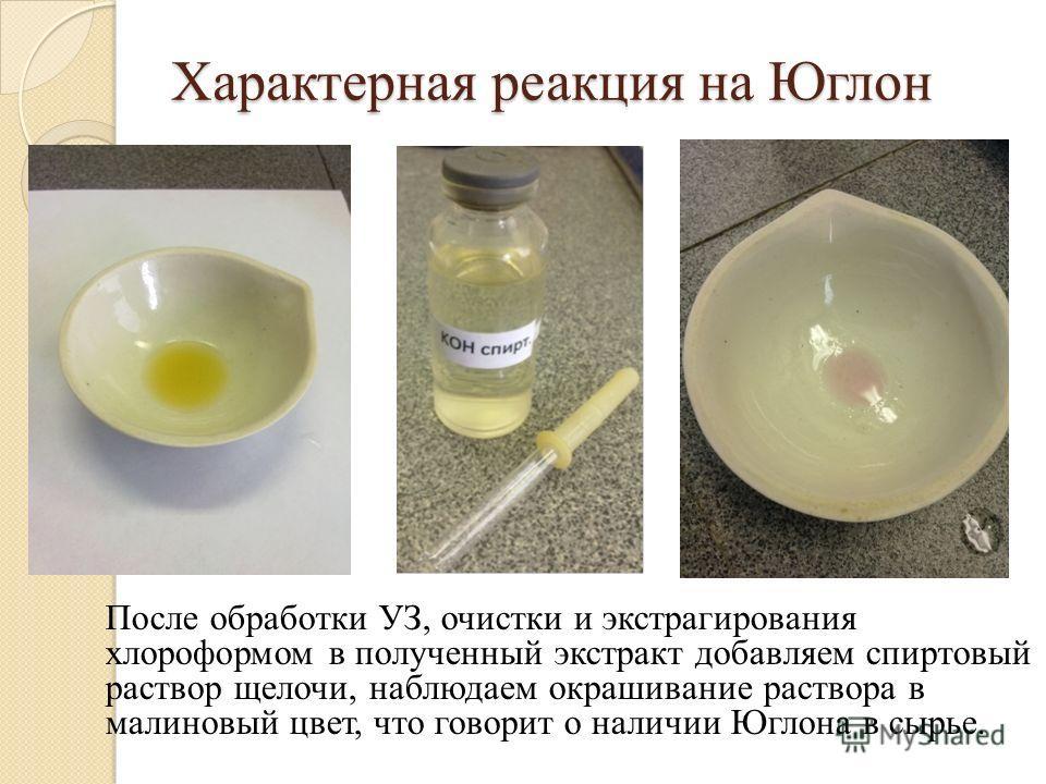 Характерная реакция на Юглон После обработки УЗ, очистки и экстрагирования хлороформом в полученный экстракт добавляем спиртовый раствор щелочи, наблюдаем окрашивание раствора в малиновый цвет, что говорит о наличии Юглона в сырье.