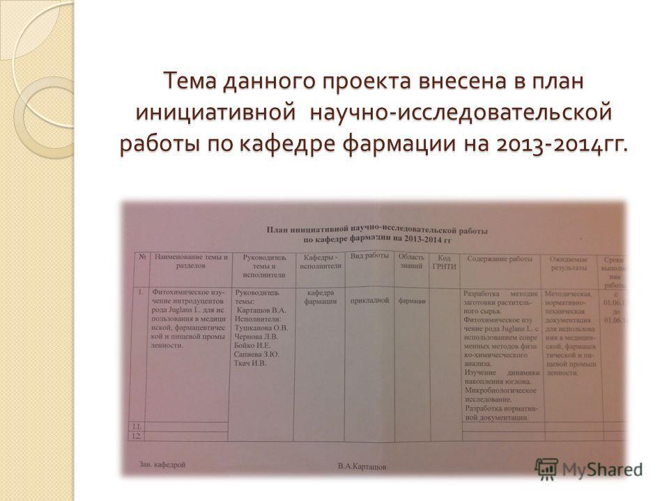 Тема данного проекта внесена в план инициативной научно - исследовательской работы по кафедре фармации на 2013-2014 гг.