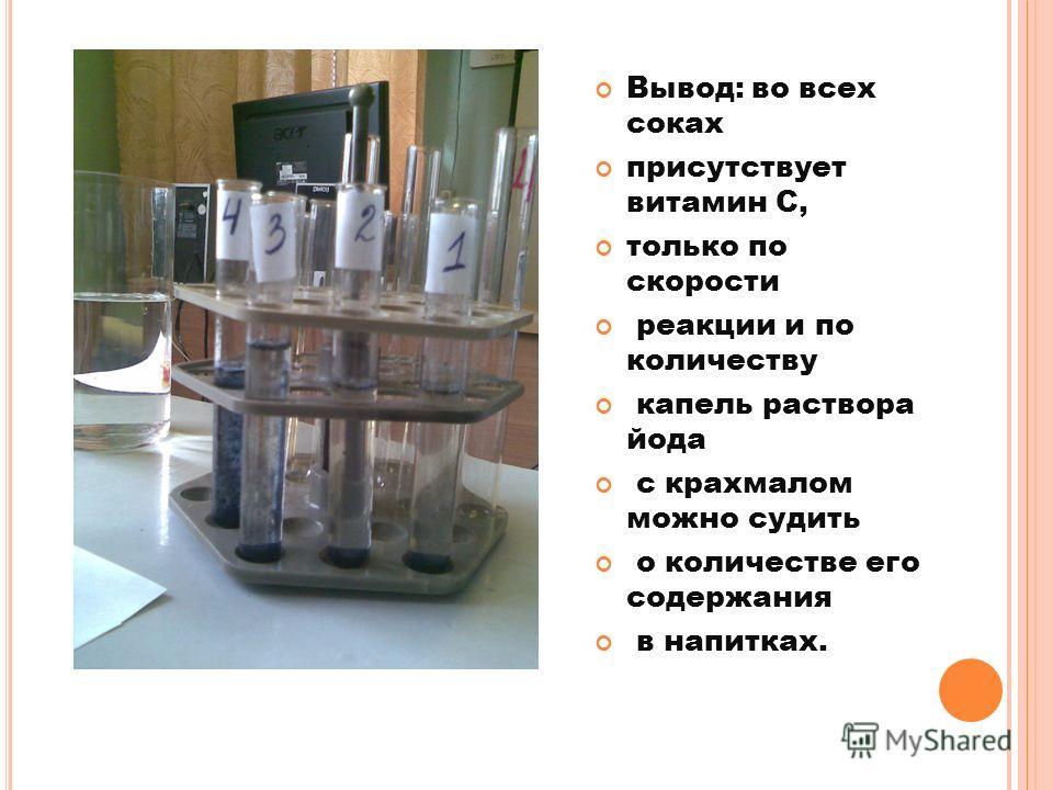 Вывод: во всех соках присутствует витамин С, только по скорости реакции и по количеству капель раствора йода с крахмалом можно судить о количестве его содержания в напитках.