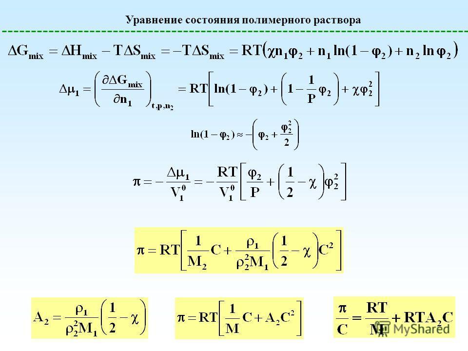 Уравнение состояния полимерного раствора