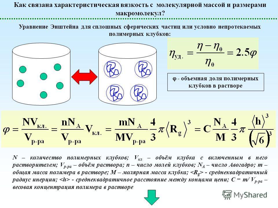 - объемная доля полимерных клубков в растворе Уравнение Энштейна для сплошных сферических частиц или условно непротекаемых полимерных клубков: Как связана характеристическая вязкость с молекулярной массой и размерами макромолекул? N – количество поли