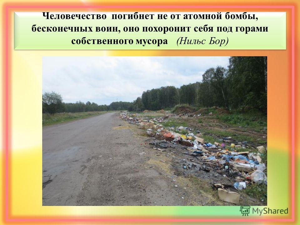 Человечество погибнет не от атомной бомбы, бесконечных воин, оно похоронит себя под горами собственного мусора (Нильс Бор)