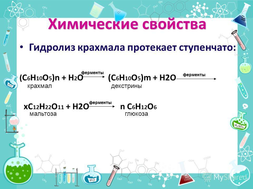 Химические свойства Гидролиз крахмала протекает ступенчато: ( C 6 H 10 O 5 )n + H 2 O (C 6 H 10 O 5 )m + H2O xC 12 H 22 O 11 + H2O n C 6 H 12 O 6 ферменты ферменты ферменты крахмал декстрины мальтоза глюкоза