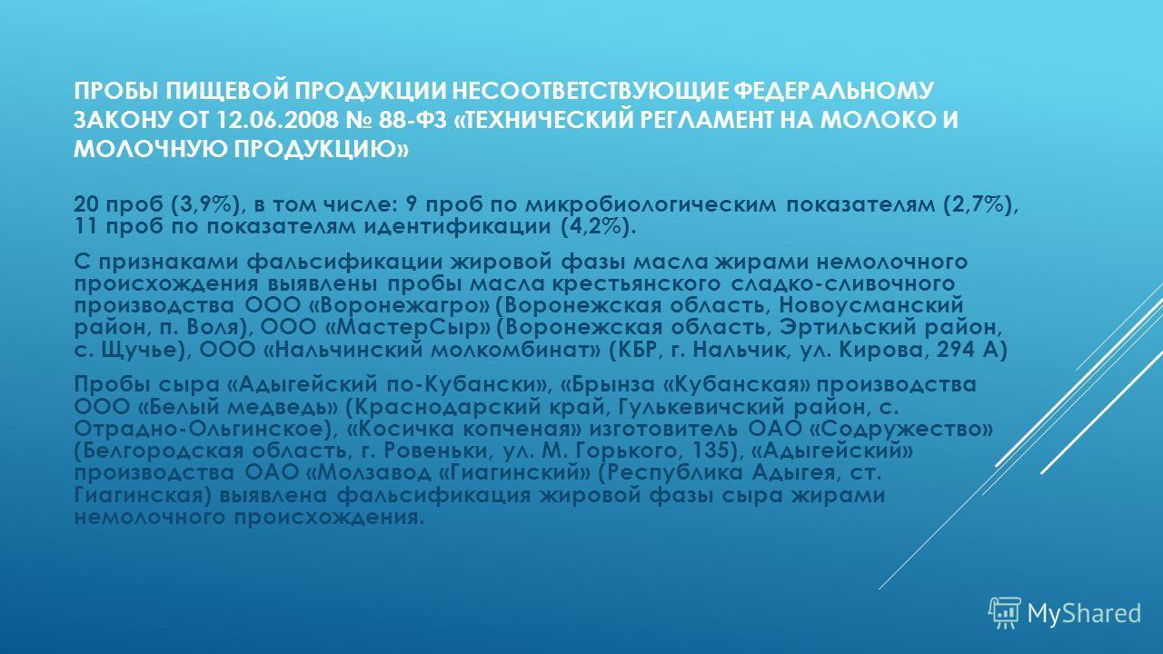 ПРОБЫ ПИЩЕВОЙ ПРОДУКЦИИ НЕСООТВЕТСТВУЮЩИЕ ФЕДЕРАЛЬНОМУ ЗАКОНУ ОТ 12.06.2008 88-ФЗ «ТЕХНИЧЕСКИЙ РЕГЛАМЕНТ НА МОЛОКО И МОЛОЧНУЮ ПРОДУКЦИЮ» 20 проб (3,9%), в том числе: 9 проб по микробиологическим показателям (2,7%), 11 проб по показателям идентификаци