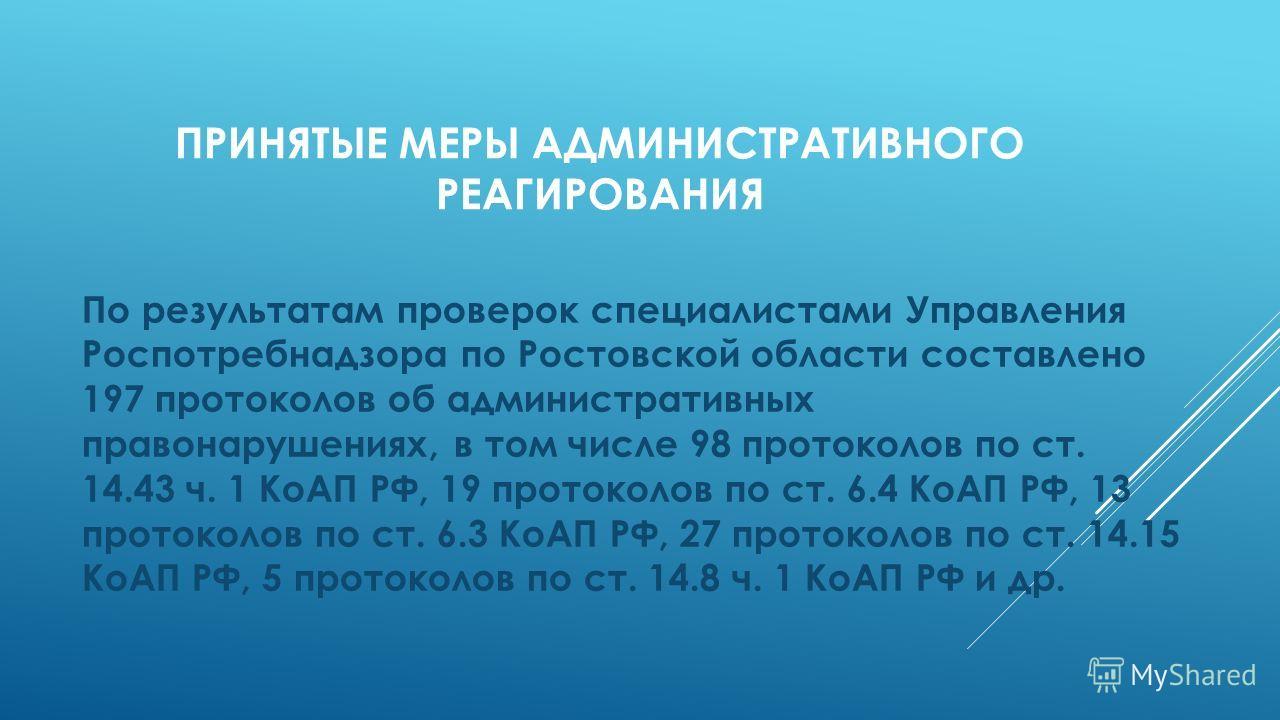 ПРИНЯТЫЕ МЕРЫ АДМИНИСТРАТИВНОГО РЕАГИРОВАНИЯ По результатам проверок специалистами Управления Роспотребнадзора по Ростовской области составлено 197 протоколов об административных правонарушениях, в том числе 98 протоколов по ст. 14.43 ч. 1 КоАП РФ, 1