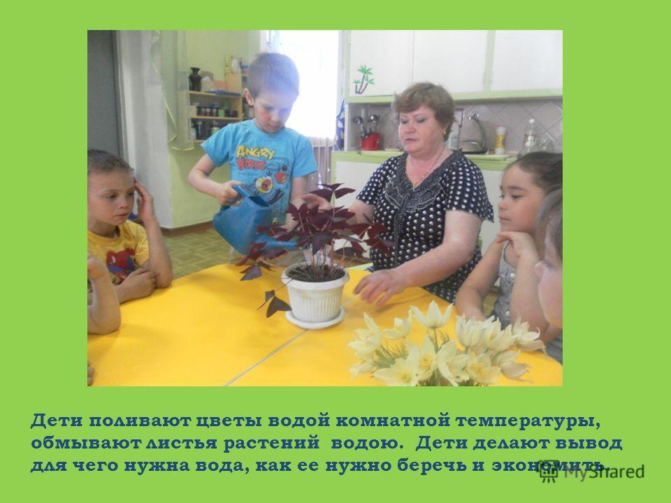 Дети поливают цветы водой комнатной температуры, обмывают листья растений водою. Дети делают вывод для чего нужна вода, как ее нужно беречь и экономить.