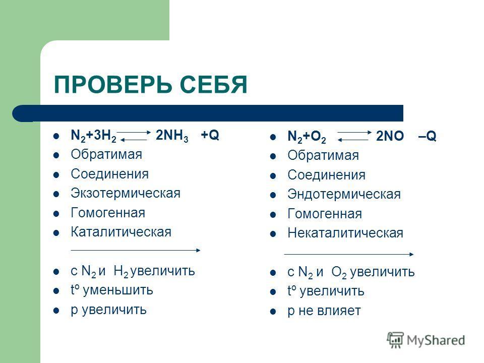 ПРОВЕРЬ СЕБЯ N 2 +3H 2 2NH 3 +Q Обратимая Соединения Экзотермическая Гомогенная Каталитическая с N 2 и H 2 увеличить tº уменьшить р увеличить N 2 +O 2 2NO –Q Обратимая Соединения Эндотермическая Гомогенная Некаталитическая с N 2 и O 2 увеличить tº ув