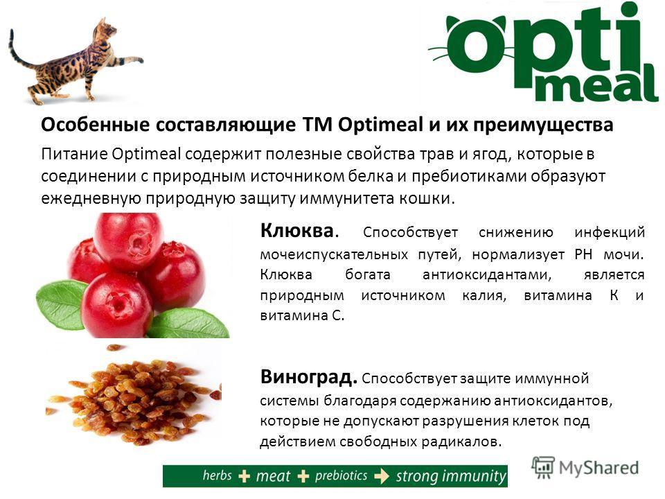 Особенные составляющие ТМ Optimeal и их преимущества Питание Optimeal содержит полезные свойства трав и ягод, которые в соединении с природным источником белка и пребиотиками образуют ежедневную природную защиту иммунитета кошки. Клюква. Способствует