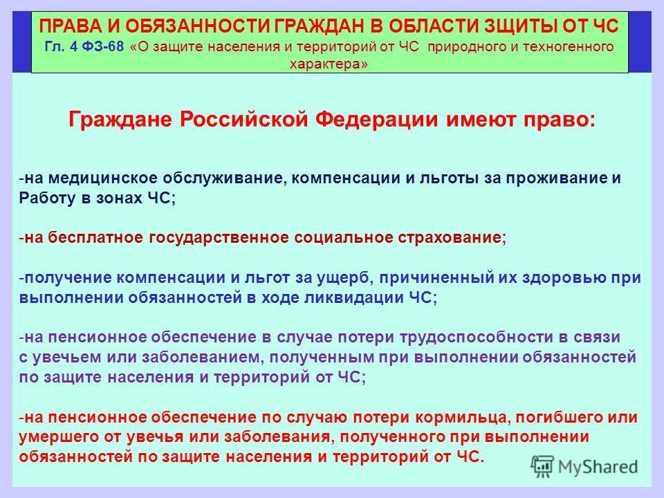 Граждане Российской Федерации имеют право: -на медицинское обслуживание, компенсации и льготы за проживание и Работу в зонах ЧС; -на бесплатное государственное социальное страхование; -получение компенсации и льгот за ущерб, причиненный их здоровью п
