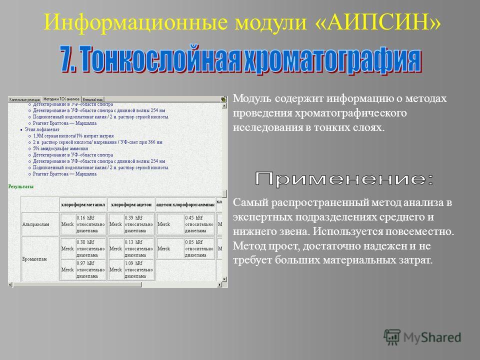 Информационные модули «АИПСИН» Модуль содержит информацию о методах проведения хроматографического исследования в тонких слоях. Самый распространенный метод анализа в экспертных подразделениях среднего и нижнего звена. Используется повсеместно. Метод