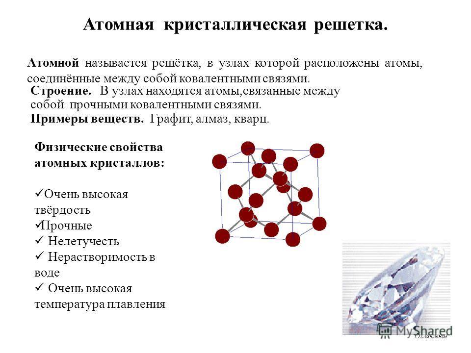 Атомная кристаллическая решетка. Атомной называется решётка, в узлах которой расположены атомы, соединённые между собой ковалентными связями. Физические свойства атомных кристаллов: Очень высокая твёрдость Прочные Нелетучесть Нерастворимость в воде О