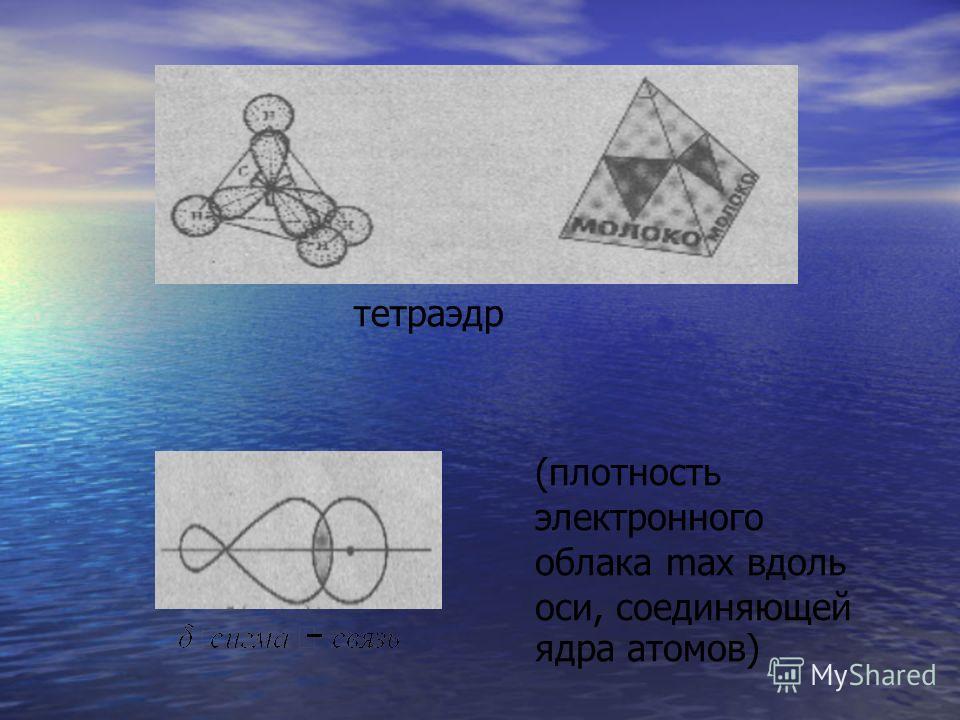 тетраэдр (плотность электронного облака max вдоль оси, соединяющей ядра атомов)