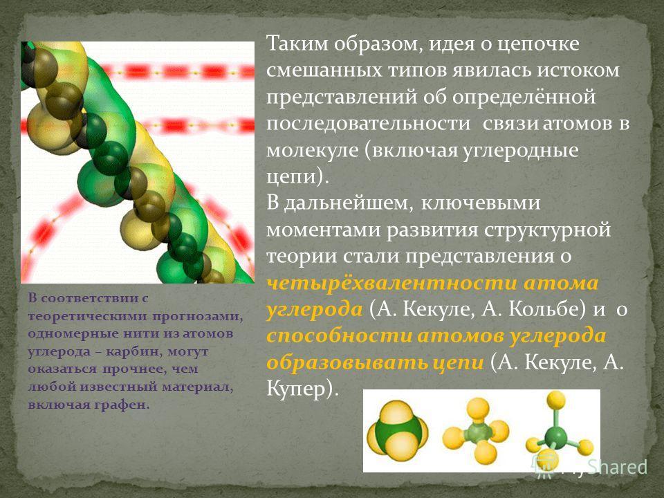 Таким образом, идея о цепочке смешанных типов явилась истоком представлений об определённой последовательности связи атомов в молекуле (включая углеродные цепи). В дальнейшем, ключевыми моментами развития структурной теории стали представления о четы