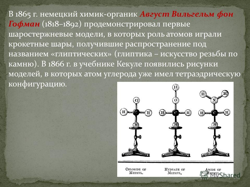 В 1865 г. немецкий химик-органик Август Вильгельм фон Гофман (1818–1892) продемонстрировал первые шаростержневые модели, в которых роль атомов играли крокетные шары, получившие распространение под названием «глиптических» (глиптика – искусство резьбы