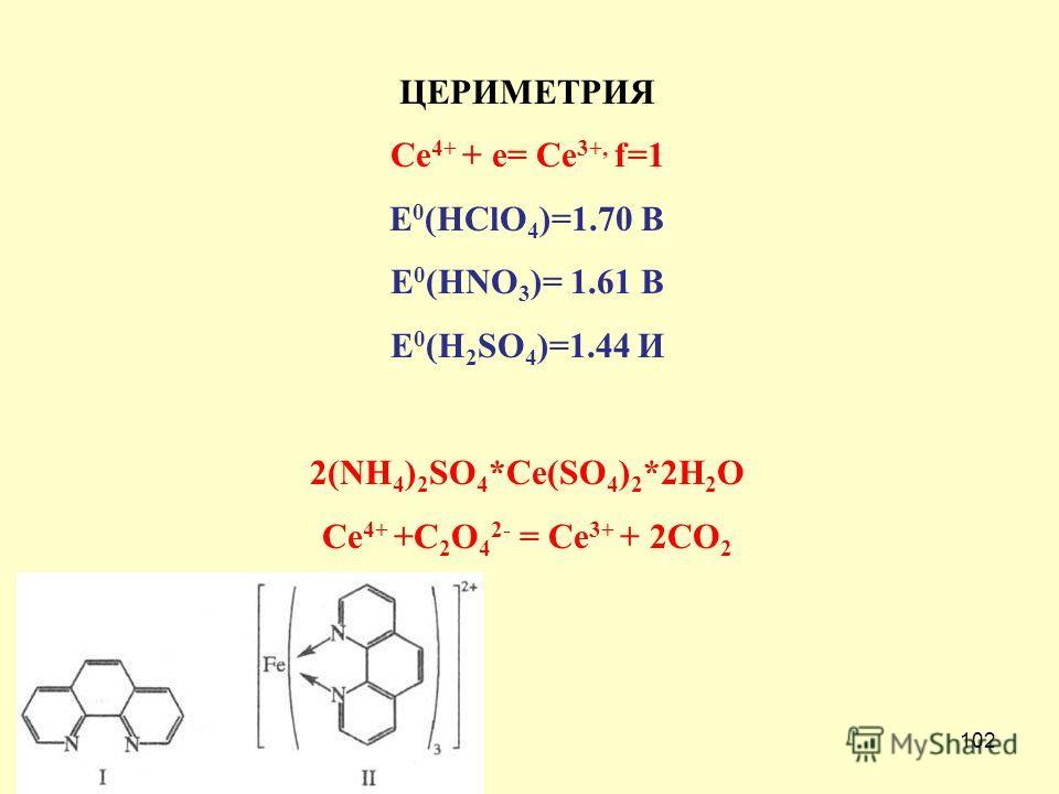 102 ЦЕРИМЕТРИЯ Ce 4+ + e= Ce 3+, f=1 E 0 (HClO 4 )=1.70 В E 0 (HNO 3 )= 1.61 В E 0 (H 2 SO 4 )=1.44 И 2(NH 4 ) 2 SO 4 *Ce(SO 4 ) 2 *2H 2 O Ce 4+ +C 2 O 4 2- = Ce 3+ + 2CO 2