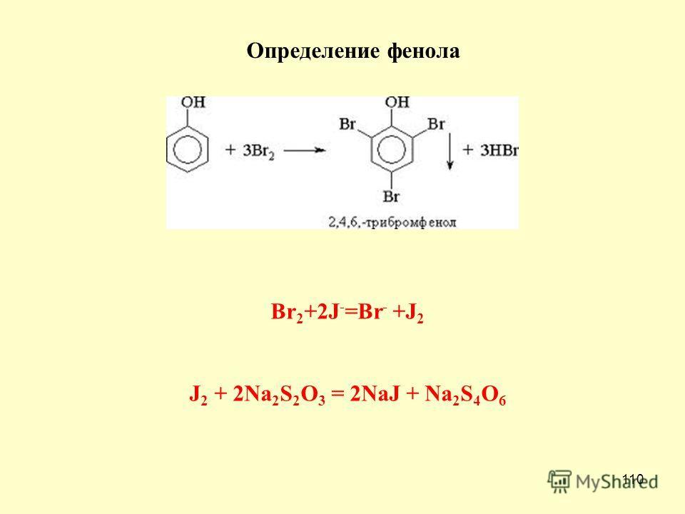 110 Определение фенола Br 2 +2J - =Br - +J 2 J 2 + 2Na 2 S 2 O 3 = 2NaJ + Na 2 S 4 O 6