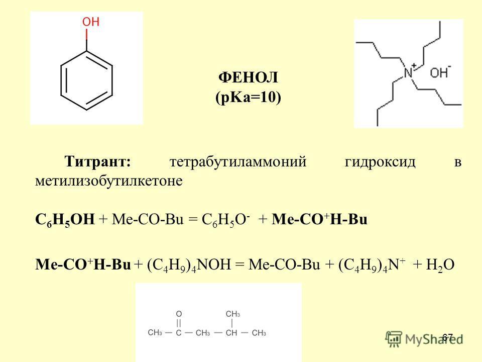 67 ФЕНОЛ (pKa=10) Титрант: тетрабутиламмоний гидроксид в метилизобутилкетоне С 6 Н 5 ОН + Ме-СO-Bu = С 6 Н 5 О - + Ме-СO + H-Bu Ме-СO + H-Bu + (С 4 Н 9 ) 4 NOH = Ме-СO-Bu + (С 4 Н 9 ) 4 N + + H 2 O