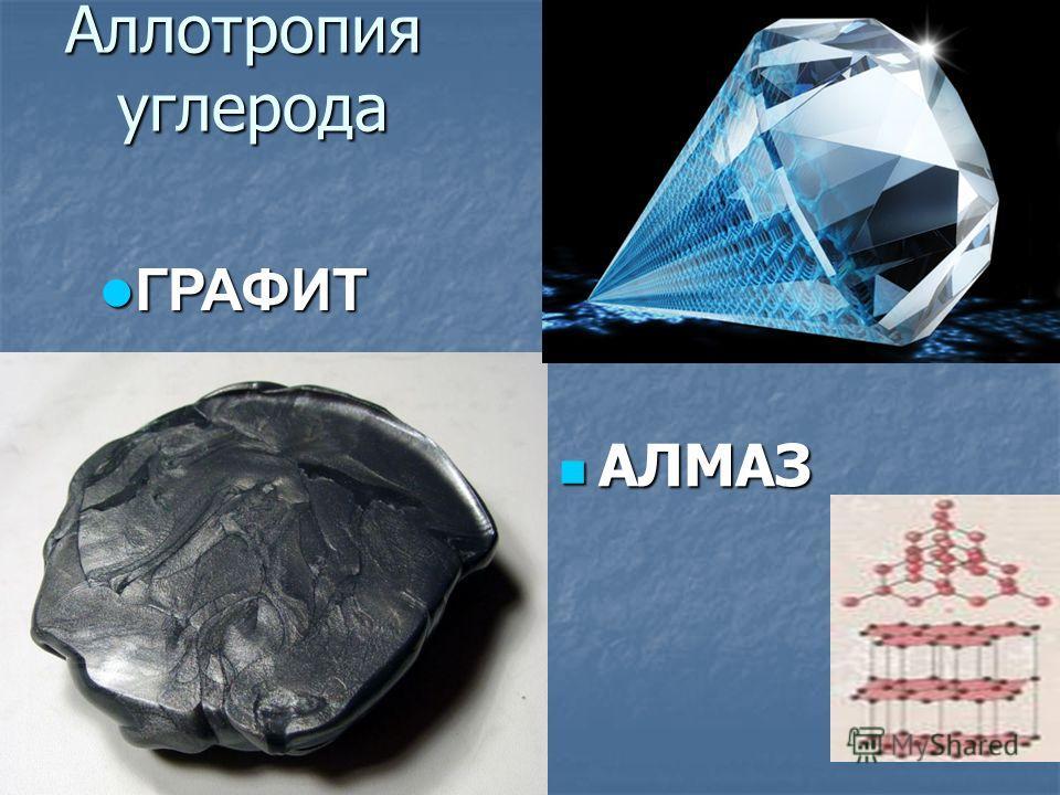 Аллотропия углерода АЛМАЗ АЛМАЗ ГРАФИТ ГРАФИТ