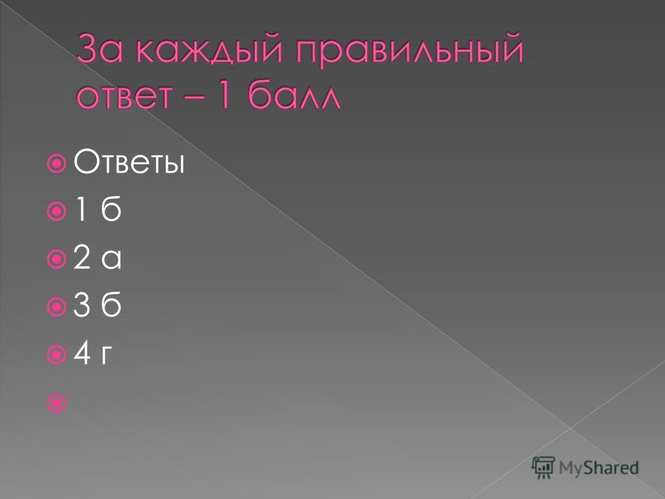 Ответы 1 б 2 а 3 б 4 г