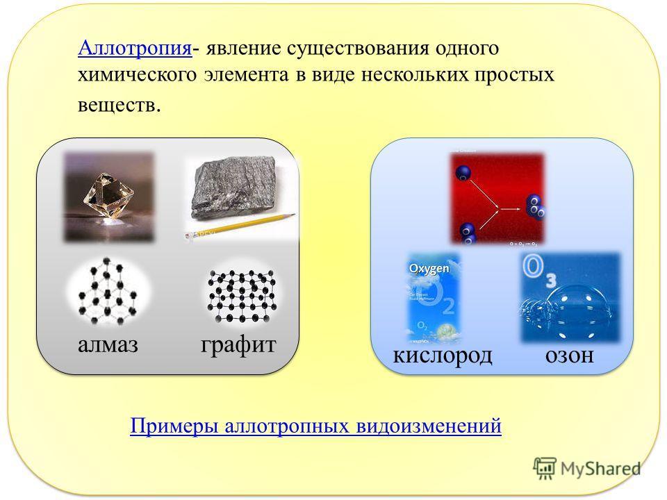 Аллотропия Аллотропия - явление существования одного химического элемента в виде нескольких простых веществ. алмаз графит кислород озон Примеры аллотропных видоизменений