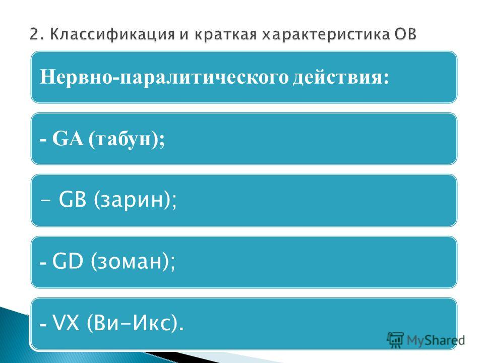 Нервно-паралитического действия:- GA (табун); - GВ (зарин); - GD (зоман); - VХ (Ви-Икс).