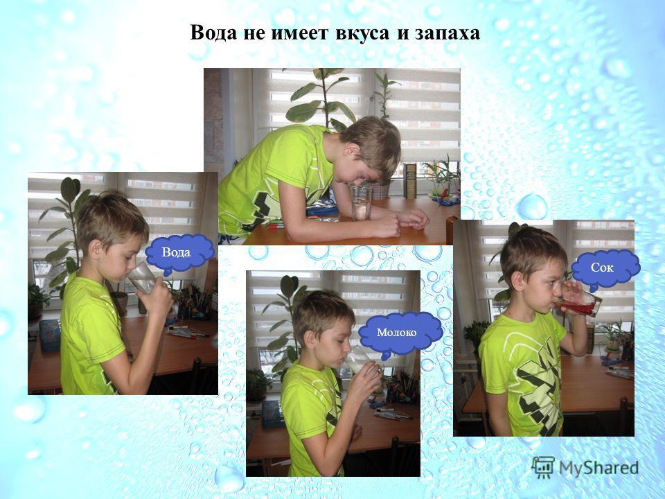 Вода не имеет вкуса и запаха Вода Молоко Сок