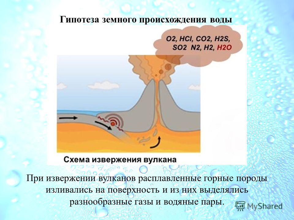 Гипотеза земного происхождения воды При извержении вулканов расплавленные горные породы изливались на поверхность и из них выделялись разнообразные газы и водяные пары.