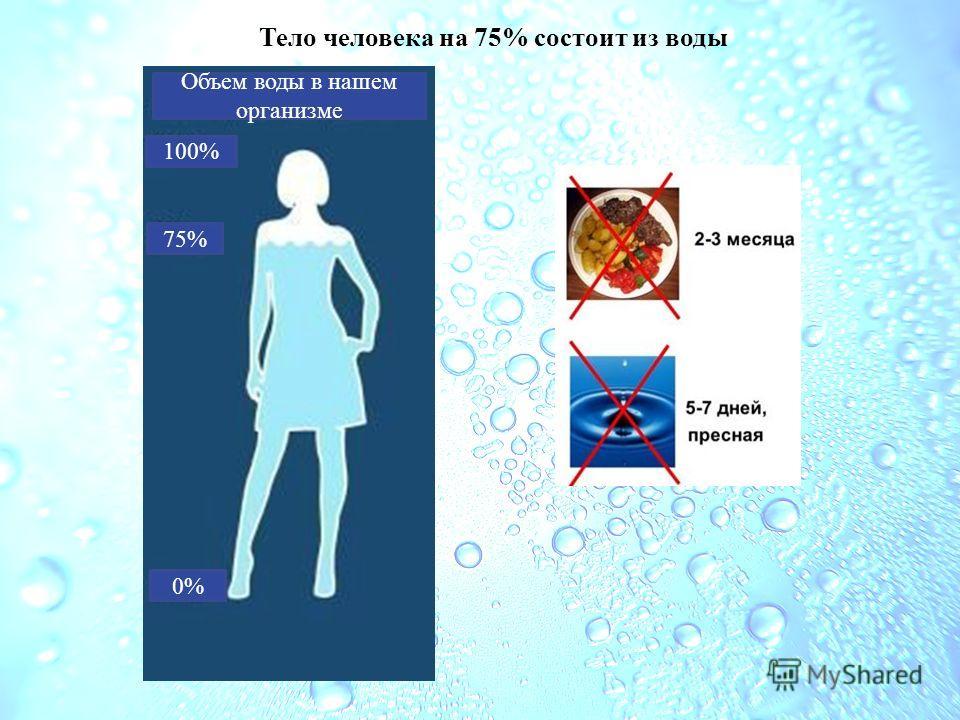 Тело человека на 75% состоит из воды 75% 0% 100% Объем воды в нашем организме