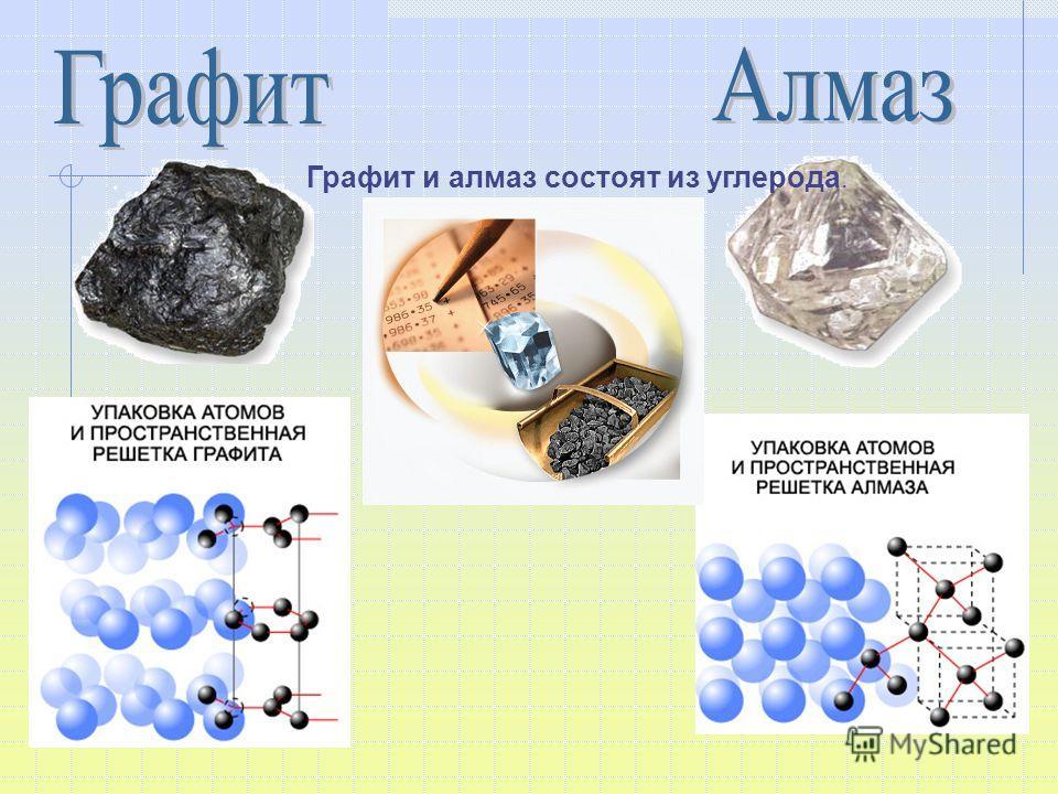 Графит и алмаз состоят из углерода.