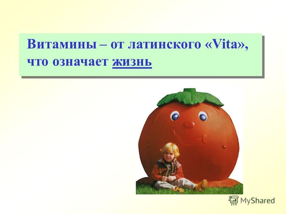 Витамины – от латинского «Vita», что означает жизнь