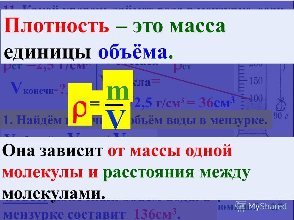 10. В трех мензурках налиты разные жидкости одинаковой массы (180 гр). В каком сосуде жидкость имеет наибольшую плотность? 1, 2, 3, 4-во всех одинаковы. 1 2 3 2 – наименьшая 180/180= 1,0 г/см 3 4. Кирпич 1- наибольшая 180/100= 1,8 г/см 3 1. стекло 10