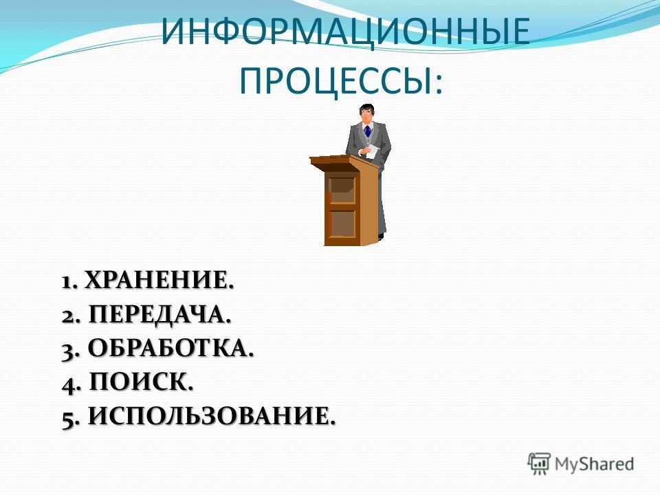 Процессы, связанные с поиском, хранением, передачей, обработкой и использованием информации, называются ИНФОРМАЦИОННЫМИ ПРОЦЕССАМИ