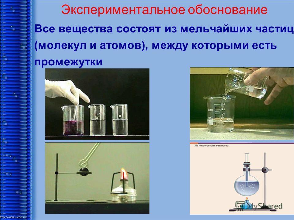 Экспериментальное обоснование Все вещества состоят из мельчайших частиц (молекул и атомов), между которыми есть промежутки