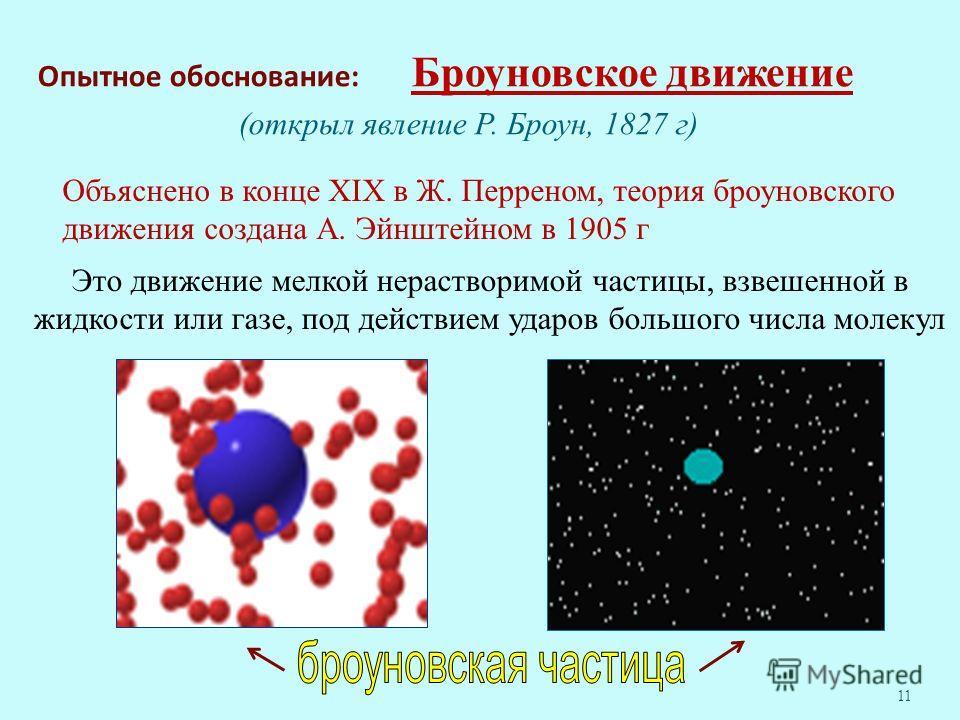 Опытное обоснование: Броуновское движение (открыл явление Р. Броун, 1827 г) 11 Это движение мелкой нерастворимой частицы, взвешенной в жидкости или газе, под действием ударов большого числа молекул Объяснено в конце XIX в Ж. Перреном, теория броуновс
