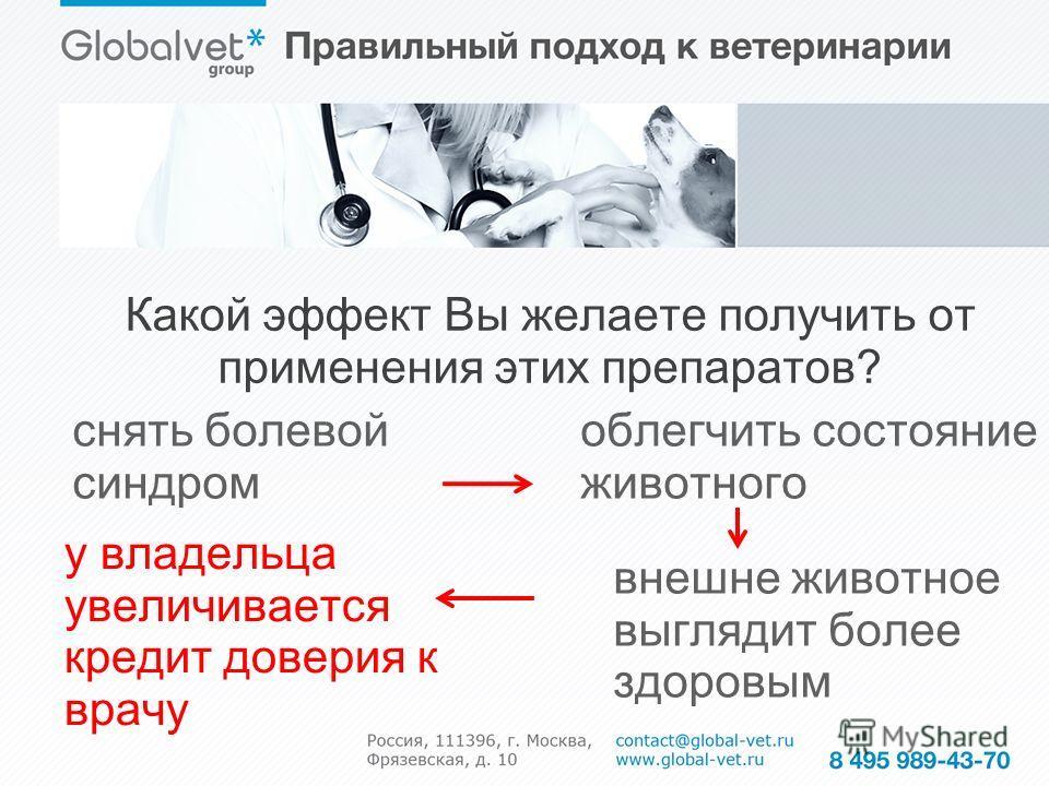 Какой эффект Вы желаете получить от применения этих препаратов? облегчить состояние животного снять болевой синдром внешне животное выглядит более здоровым у владельца увеличивается кредит доверия к врачу