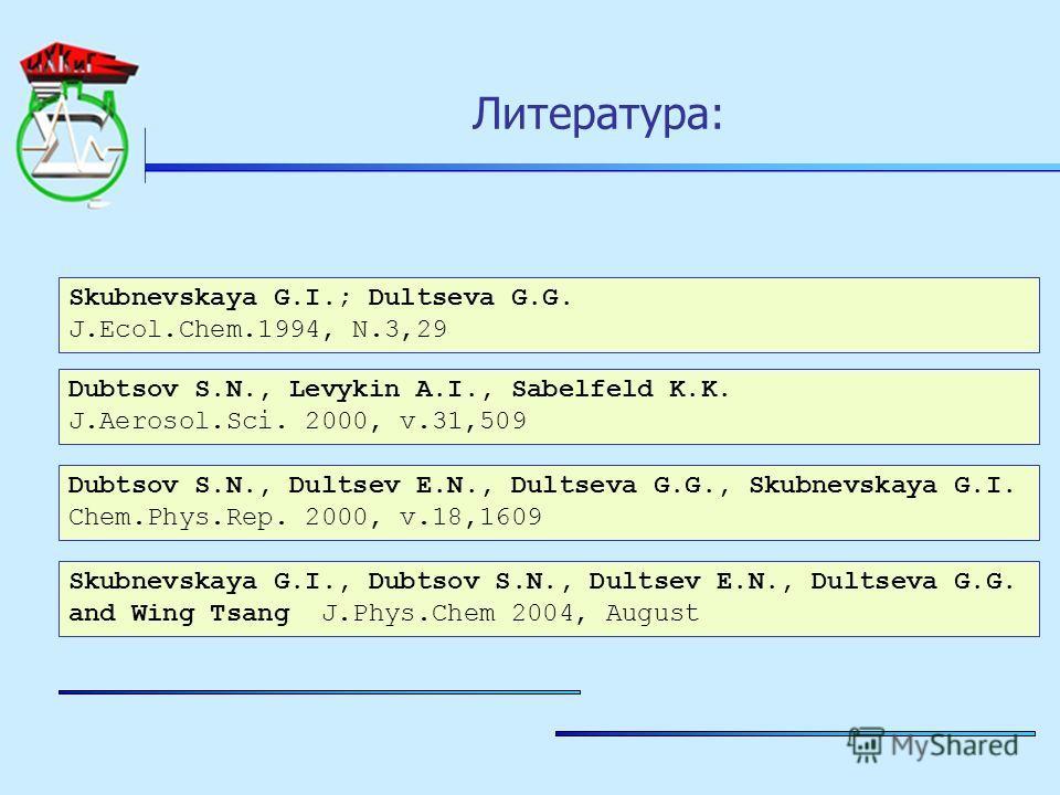 Литература: Skubnevskaya G.I.; Dultseva G.G. J.Ecol.Chem.1994, N.3,29 Dubtsov S.N., Levykin A.I., Sabelfeld K.K. J.Aerosol.Sci. 2000, v.31,509 Dubtsov S.N., Dultsev E.N., Dultseva G.G., Skubnevskaya G.I. Chem.Phys.Rep. 2000, v.18,1609 Skubnevskaya G.