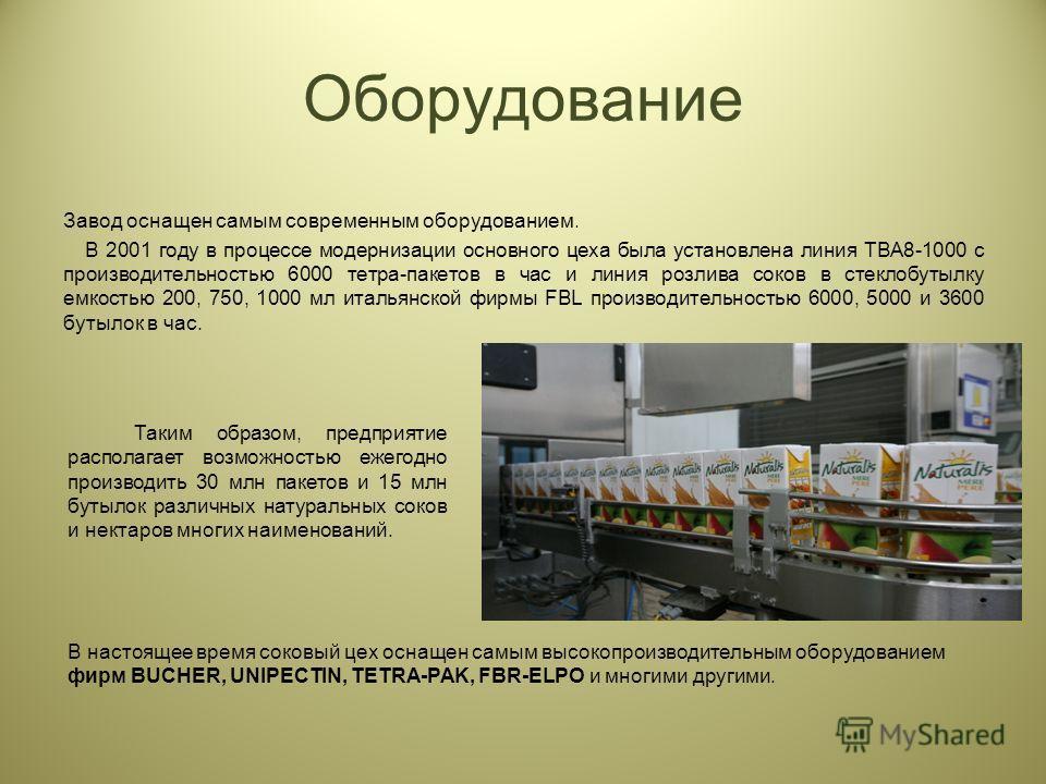 Завод оснащен самым современным оборудованием. В 2001 году в процессе модернизации основного цеха была установлена линия TBA8-1000 с производительностью 6000 тетра-пакетов в час и линия розлива соков в стеклобутылку емкостью 200, 750, 1000 мл итальян