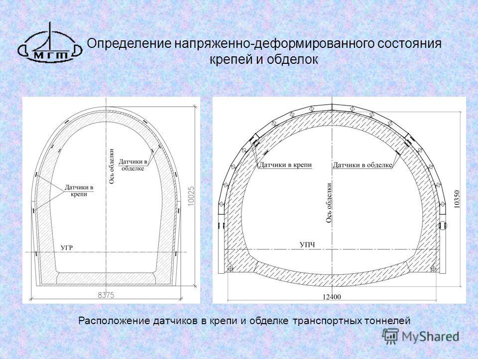 Определение напряженно-деформированного состояния крепей и обделок Расположение датчиков в крепи и обделке транспортных тоннелей