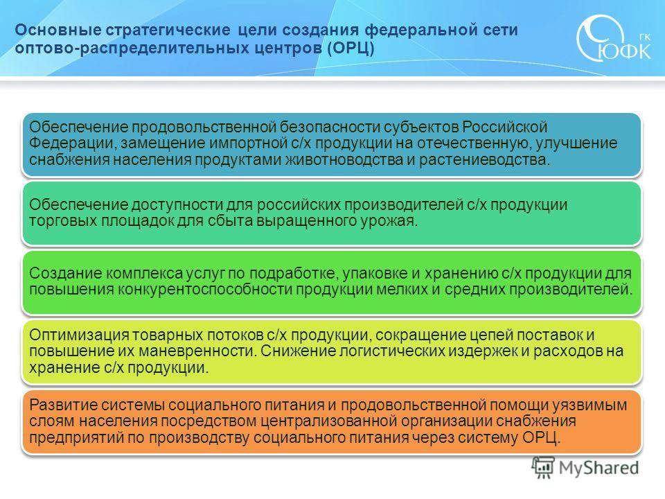 Основные стратегические цели создания федеральной сети оптово-распределительных центров (ОРЦ) Обеспечение продовольственной безопасности субъектов Российской Федерации, замещение импортной с/х продукции на отечественную, улучшение снабжения населения