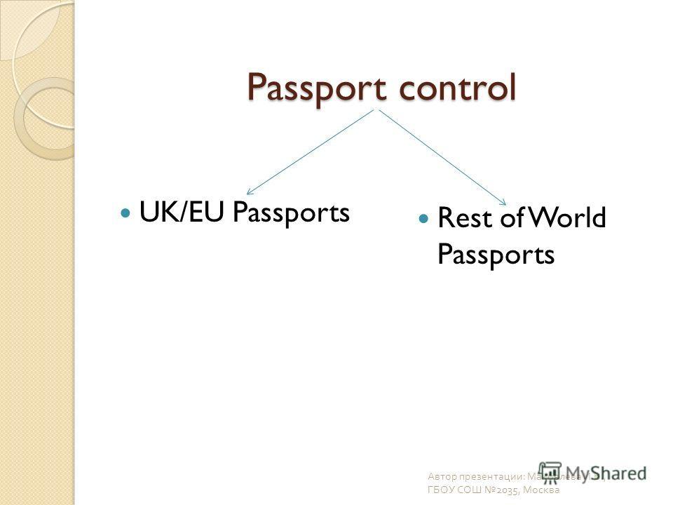 Passport control UK/EU Passports Rest of World Passports Автор презентации : Маковлева И. В., ГБОУ СОШ 2035, Москва