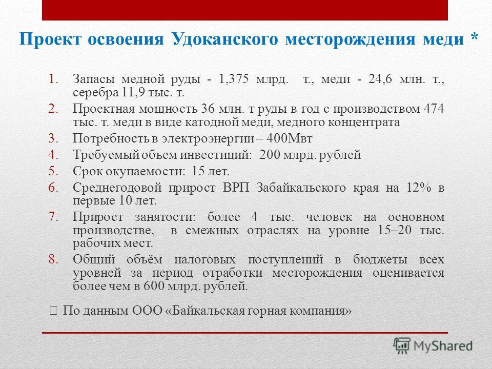 Проект освоения Удоканского месторождения меди * 1. Запасы медной руды - 1,375 млрд. т., меди - 24,6 млн. т., серебра 11,9 тыс. т. 2. Проектная мощность 36 млн. т руды в год с производством 474 тыс. т. меди в виде катодной меди, медного концентрата 3